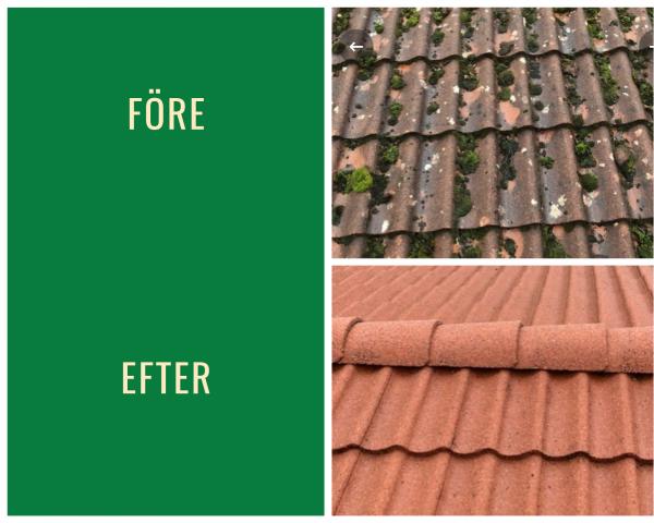 Före- och efterbild på taktvätt